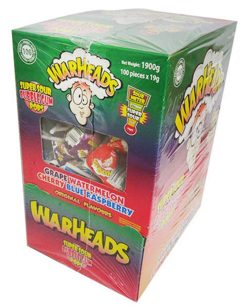 Warhead Super Sour Gum Pops (100 x 19g lollipops in a display box)