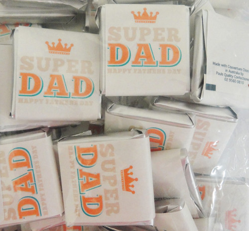 Fathers Day Belgian Chocolate - Super Dad and more Confectionery at The Professors Online Lolly Shop. (Image Number :12268)