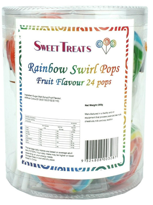 Sweet Treats swirl pop - Rainbow, by Brisbane Bulk Supplies,  and more Confectionery at The Professors Online Lolly Shop. (Image Number :11902)
