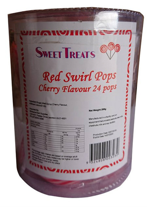Sweet Treats swirl pop - Red, by Brisbane Bulk Supplies,  and more Confectionery at The Professors Online Lolly Shop. (Image Number :11897)