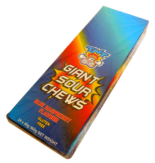 TNT Giant Sour Chew Bars - Blue Raspberry, by AIT Confectionery,  and more Confectionery at The Professors Online Lolly Shop. (Image Number :13717)