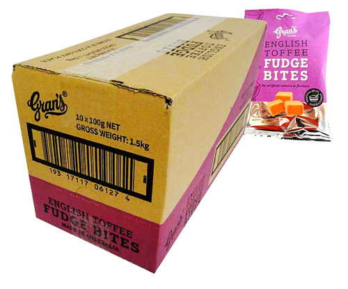 Grans Hang Sell Bag - English Toffee Fudge (100g bag x 10pc box)