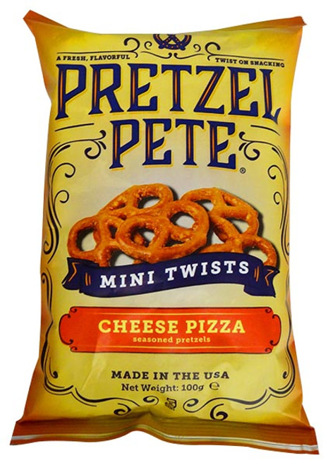 Pretzel Pete - Mini Twists - Cheese Pizza and more Snack Foods at The Professors Online Lolly Shop. (Image Number :12783)