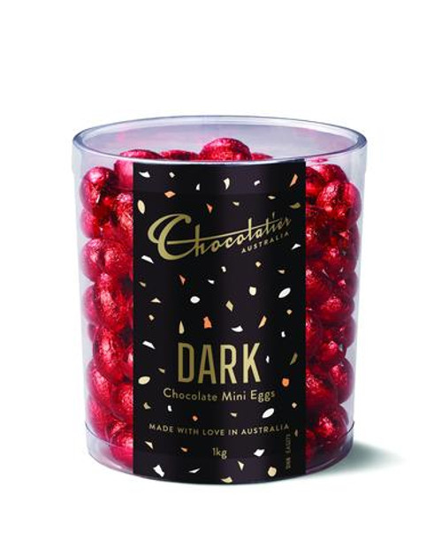 Chocolatier - Dark Chocolate Mini Eggs Red Foil and more Confectionery at The Professors Online Lolly Shop. (Image Number :12398)