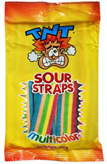 TNT Sour Straps - Multicolour - Hang Sell Bags, by TNT,  and more Confectionery at The Professors Online Lolly Shop. (Image Number :12472)