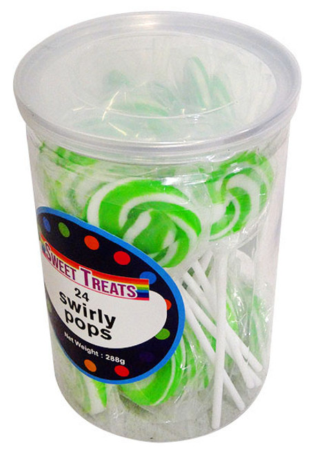 Sweet Treats Small Swirly Pops - Green - 4cm wide, by Brisbane Bulk Supplies,  and more Confectionery at The Professors Online Lolly Shop. (Image Number :13269)