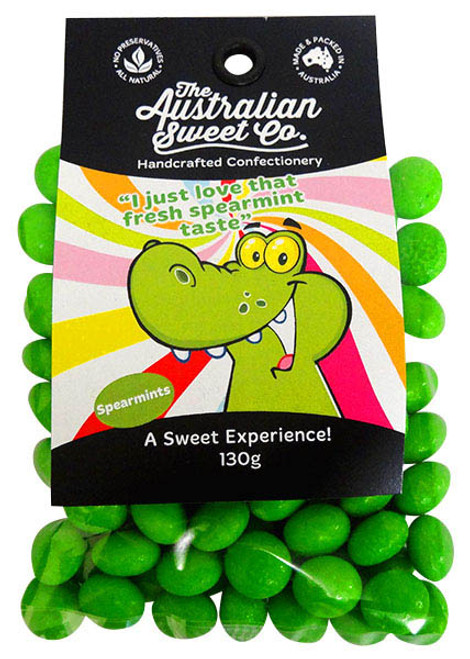 Spearmints, by The Australian Sweet Company,  and more Confectionery at The Professors Online Lolly Shop. (Image Number :13253)