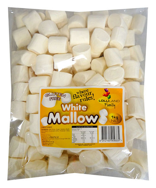 Lolliland Marshmallow Cylinders - White, by Lolliland,  and more Confectionery at The Professors Online Lolly Shop. (Image Number :13228)