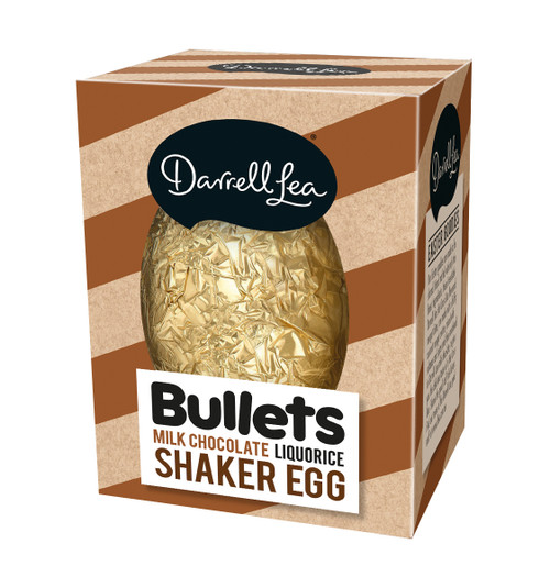 Darrell Lea Liquorice Bullets Milk Chocolate Shaker Egg, by Darrell Lea,  and more Confectionery at The Professors Online Lolly Shop. (Image Number :13894)