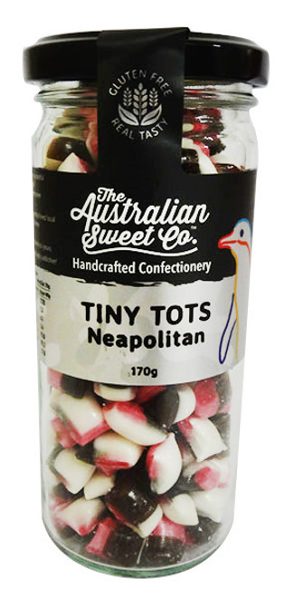 Tiny Tots - Neopolitan, by The Australian Sweet Company,  and more Confectionery at The Professors Online Lolly Shop. (Image Number :16234)