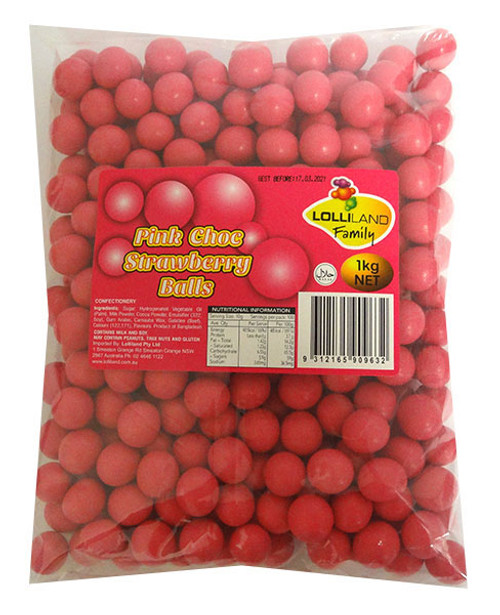 Lolliland Choc Balls - Pink with Strawberry Flavour, by Lolliland,  and more Confectionery at The Professors Online Lolly Shop. (Image Number :14123)