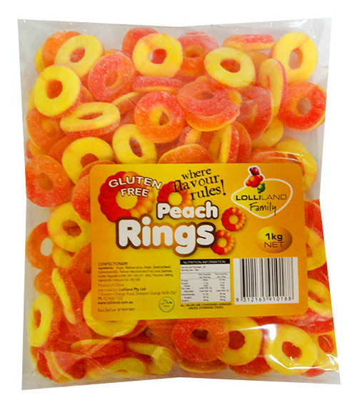 Lolliland Peach Rings, by Lolliland,  and more Confectionery at The Professors Online Lolly Shop. (Image Number :14226)