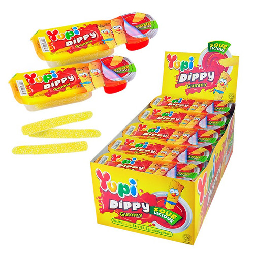 Yupi Dippy Gummy Chips and Sauce - Sour and more Confectionery at The Professors Online Lolly Shop. (Image Number :14357)