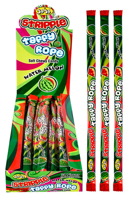 JoJo Stripple Taffy Rope - Watermelon and more Confectionery at The Professors Online Lolly Shop. (Image Number :14513)