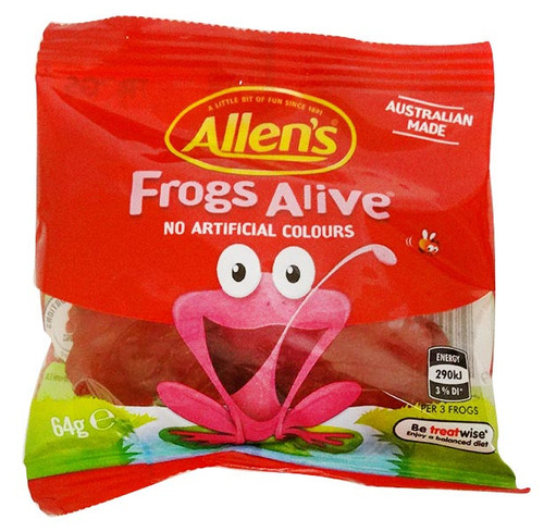Allens Mini Bag - Red Frogs Alive, by Allens Confectionery,  and more Confectionery at The Professors Online Lolly Shop. (Image Number :15753)