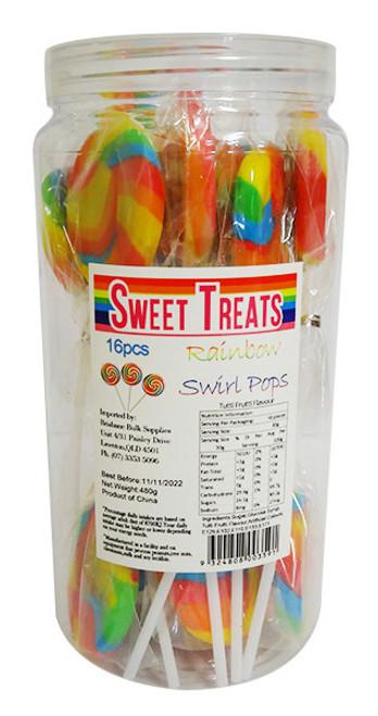 Sweet Treats Large Swirl Pops Rainbow - 6cm wide (16 x 30g in a jar)