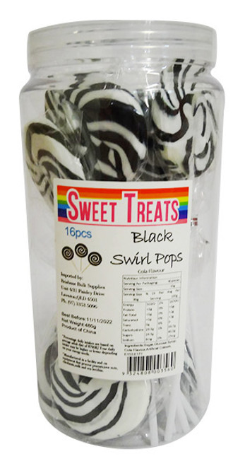 Sweet Treats Large Swirl Pops Black - 6cm wide, by Brisbane Bulk Supplies,  and more Confectionery at The Professors Online Lolly Shop. (Image Number :16555)