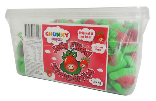 Chunky Funkeez Jelly Filled Strawberries, by vidal,  and more Confectionery at The Professors Online Lolly Shop. (Image Number :16021)