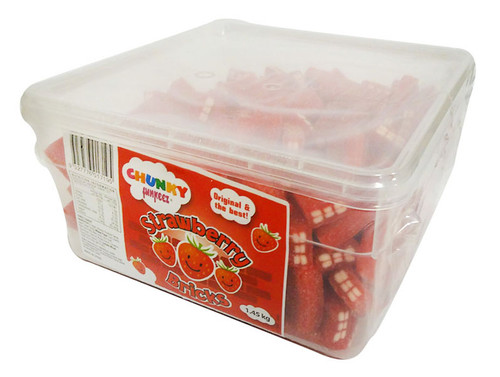 Chunky Funkeez Strawberry Bricks, by vidal,  and more Confectionery at The Professors Online Lolly Shop. (Image Number :15909)