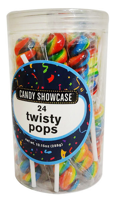 Candy Showcase Twisty Pops  - Rainbow, by Lolliland,  and more Confectionery at The Professors Online Lolly Shop. (Image Number :16390)