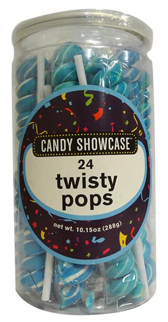 Candy Showcase Twisty Pops  - Blue & White ( 24 x 12g)