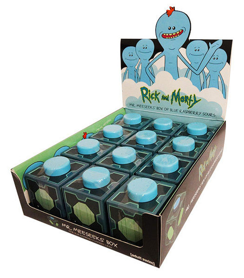 Rick and Morty - Mr Meeseeks Box of Blue Raspberry sours and more Confectionery at The Professors Online Lolly Shop. (Image Number :16519)