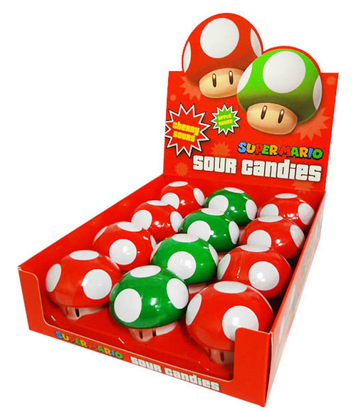 Nintendo Mushroom Sours Candies (12 x 28g Tins in a Display)