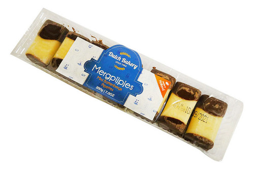 Dutch Bakery - Mergpijpjes (200g - 7 Marzipan iced cakes)