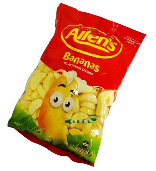 Allens Candy Bananas, by Allens Confectionery,  and more Confectionery at The Professors Online Lolly Shop. (Image Number :15880)