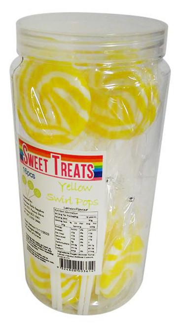 Sweet Treats Large Swirl Pops Yellow - 6cm wide (16 x 30g in a jar)