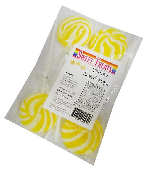 Sweet Treats Bagged Swirl Pops - Yellow (4 pack - 120g net)