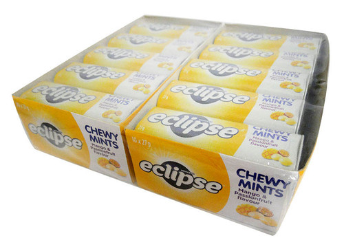 Eclipse Chewy Mints Mango and Passionfruit  (27g x 20 Tins in a Display)