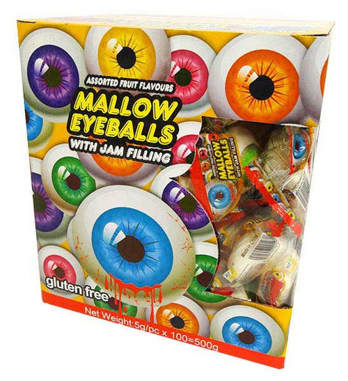 Mallow Eyeballs with Jam Filling, by AIT Confectionery,  and more Confectionery at The Professors Online Lolly Shop. (Image Number :16624)