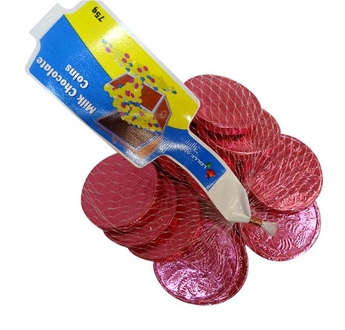 Lolliland Milk Chocolate Coins - Pink at The Professors Online Lolly Shop. (Image Number :15648)