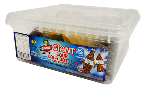 Gummini Giant Sour Cola Bottles, by AIT Confectionery,  and more Confectionery at The Professors Online Lolly Shop. (Image Number :16076)