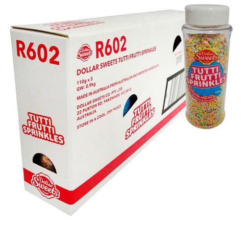 Dollar Sweets Tutti Frutti Sprinkles (5 x 110g containers)
