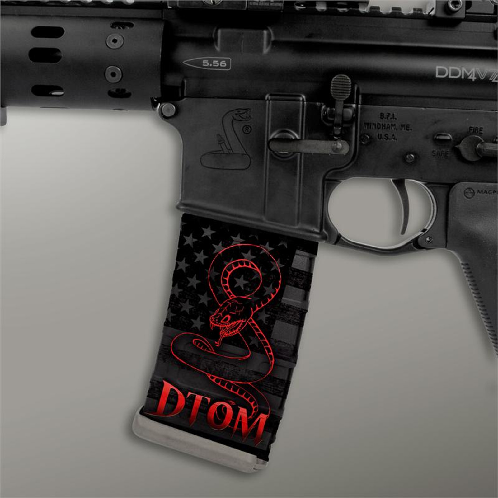 Stealth Black American Flag w/ Red DTOM