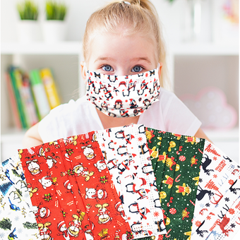 Christmas Designs Disposable 3-Ply Kids Masks - 10/Pk