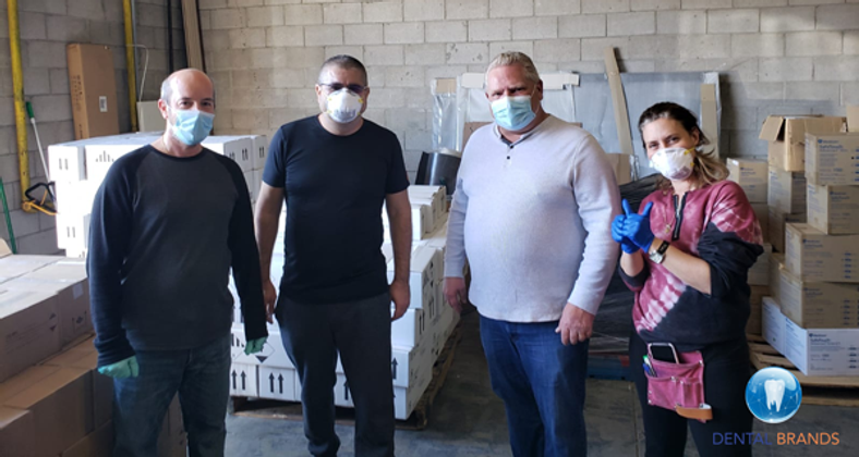 Dental Brands Donates 100,000 Face Masks. Ontario Premier picks them up personally