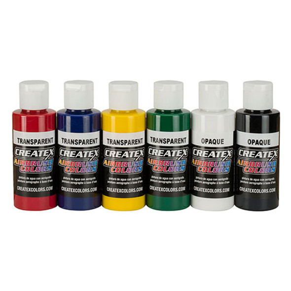createx 6 pack primary airbrush paint set