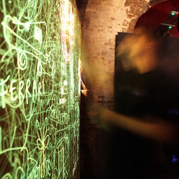 green glow powder and uv laser lights