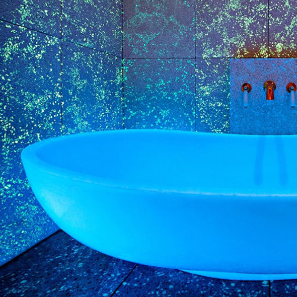 glow in the dark concrete bathroom