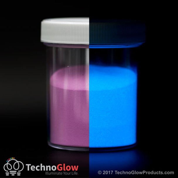 purple to blue glow in the dark powder