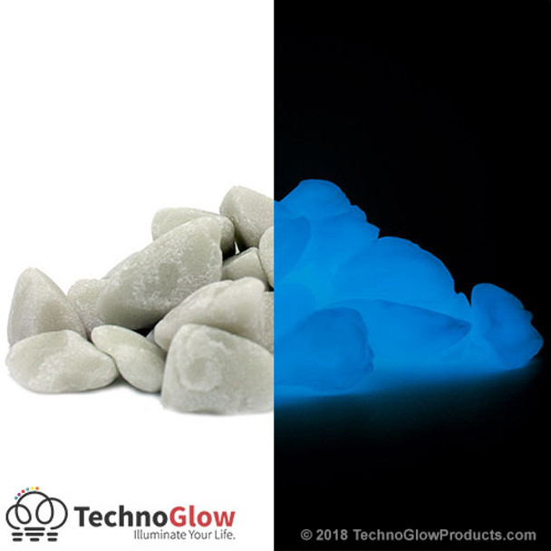 white blue glow in the dark rocks