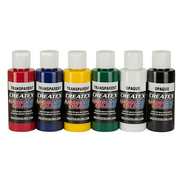 createx 6 pack primary airbrush paint set