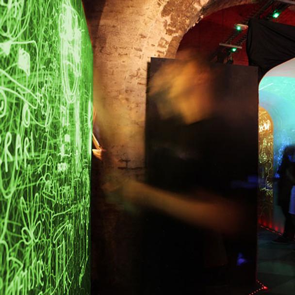 phosphorescent paint with uv laser lights