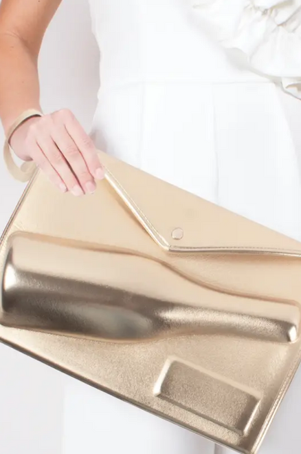 Gold Lolita 3D Champagne Clutch - Front