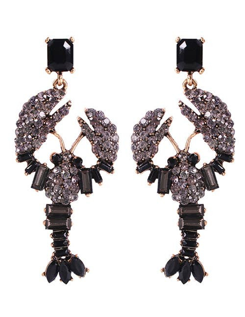 Black Rhinestone Sebastian Earrings