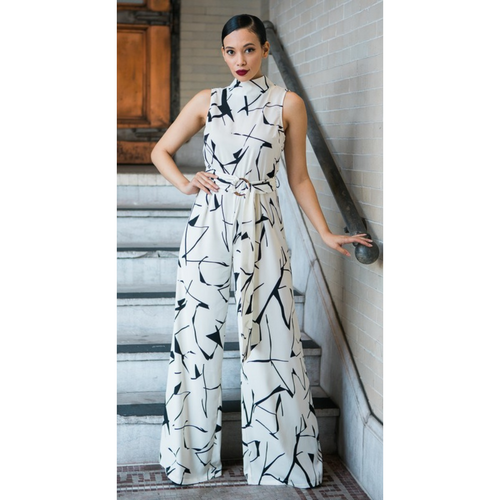 Diana Abstract Print Jumpsuit- Lifestyle shot