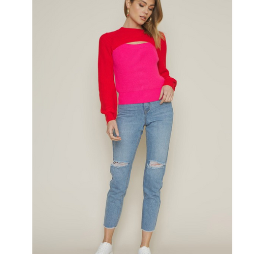 Kate Cutout Colorblock Sweater-front